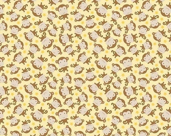 SALE Snips and Snails Monkey Yellow - 1/2 Yard