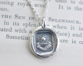 sun pendant - radiant sun wax seal necklace ... I advance - fine silver antique French wax seal jewelry