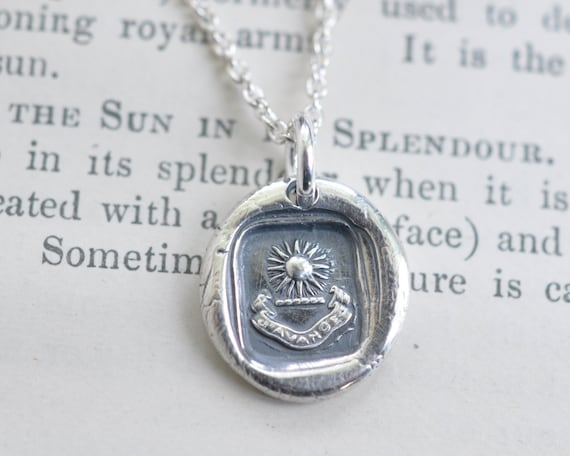 radiant sun wax seal necklace