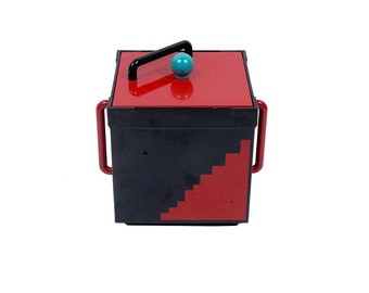 Vintage 80s Ice Bucket - Georges Briard - Memphis Group - Sottsass - Red Black Blue - 80s Geometric - 80s Georges Briard - Laquered