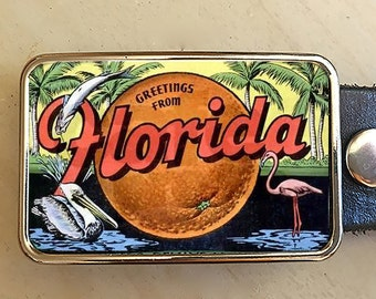 Florida Belt Buckle for men and women.  Vintage Ad.  Womens buckles.  Gift for travelers.