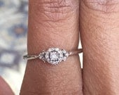 Brand new Vintage 1/7 carat round diamond and baguette sterling silver promise engagement quincineara ring valentines day