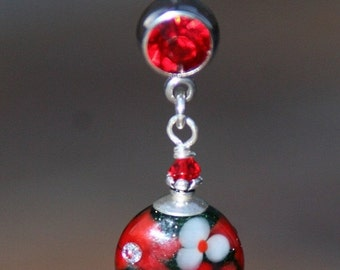 BACK 2 SCHOOL SALE Pretty Floral Lampwork Glass DeSIGNeR Belly Button Ring Red White Bling Poinsettia Christmas Flower
