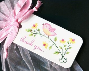Baby Shower Favor Tags - Baby Girl Favor Tags - Gift Tags - Thank You Tags - Pink Bird