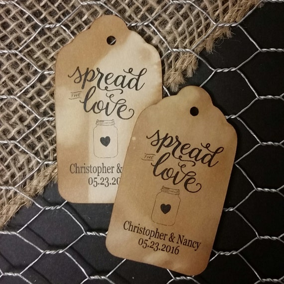 Spread the Love MEDIUM Personalized Wedding Favor Tag  choose your amount
