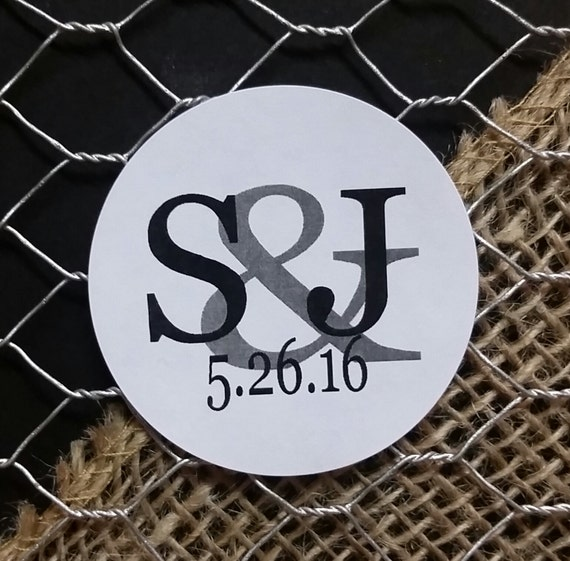 "Monogram Sticker 2"" STICKER Personalized Wedding Engagement Shower Favor STICKER choose your amount sold in sets of 20 STICKERS"