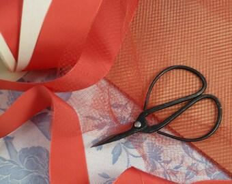 1Y Coral Vintage French Silk Veil, Veiling For Millinery, Fascinators