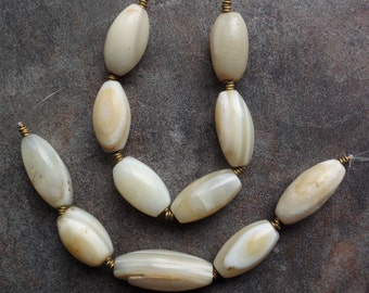One Set of Old White Agate Beads from the African Trade