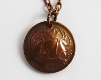 Australian Coin Necklace, Domed Coin, Australia Frilled Lizard, 2 Cents 1980, Coin Pendant, Handmade Vintage Jewelry by Hendywood