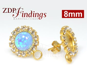 2pcs x Round 8mm Bezel Post Earrings base for Cabochon, Gold Plated Stud with Clear Crystal Rhinestones (PORD8CRYRGP)