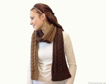 CROCHET PATTERN - Two Tone Cable Scarf - Instant Download (PDF)