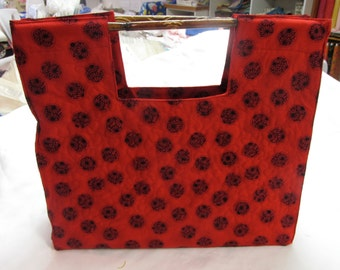 Quilted Bamboo Bag in red asian print - REDUCED