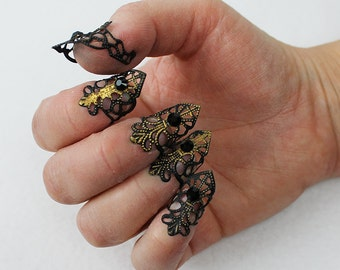 5 pcs Black and Gold Fingertip Claws, filigree rings, finger armor, nail armor, fairy claws, dragon claws, mermaid claws, Steampunk