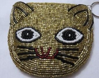 Vintage Beaded Cat Purse Kitten Coin Purse Keychain Purse