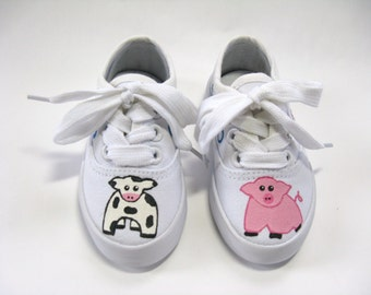 Farm Animals Shoes with Cows and Pigs, Barnyard or Farm Theme Birthday Party, Animal Party Sneakers, Hand Painted for Baby and Toddler