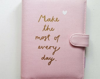 Pink Personal Planner. A6 Medium Size. Leather. Filofax, Planner, memo sticky notes, Stationary Diary.