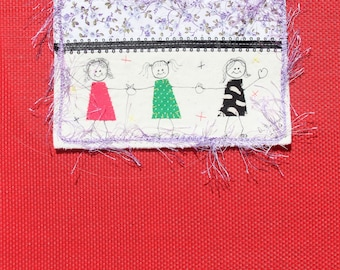 Quilted Fabric Postcard Fiber Art Three Girls Stationary Number 5 Couched Yarn Card Triplets