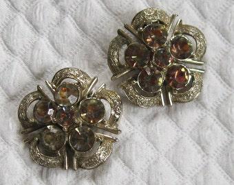 AB rhinestone earrings . coro . coro earrings . champagne rhinestone earrings