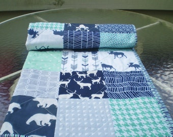 Baby quilt-Deer Baby quilt-baby boy bedding-baby girl quilt,woodland,rustic,mint,grey,navy,deer,stag,bear,moose,arrow,chevron-And Bullwinkle