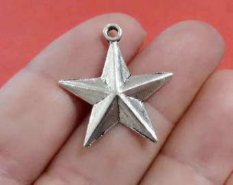 10, Star Charms 25x13mm, Hole:Approx 1-3mm