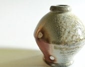 Flower Vase, earth tones, wood and soda fired, wheel thrown porcelain