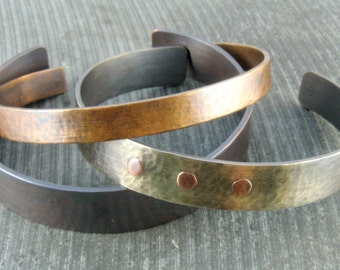 Cuff Bracelets Antiqued Set of 3 Multi Metal Hammered Stacking Cuffs- Sterling Silver with Rivets, Copper and Bronze