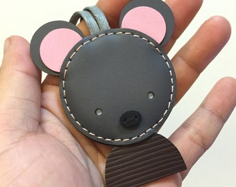Special Offer - Ready Stock - Small size - John the Mouse cowhide leather charm ( Dark grey )