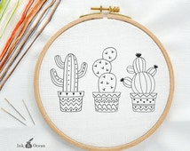 Cactus, Prickly Pear Digital hand embroidery pattern , PDF instant Download