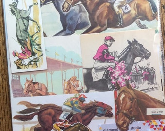Horse Racing Vintage Race Track Collage, Scrapbook and Planner Kit Number 2278