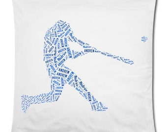 Personalized Baseball Player 20 x 20  Throw Pillow Cover Room Decor Gift