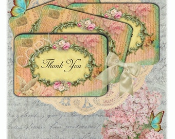 Shabby Chic Thank You Tags -  Printable Digital Collage Sheet  - INSTANT DOWNLOAD