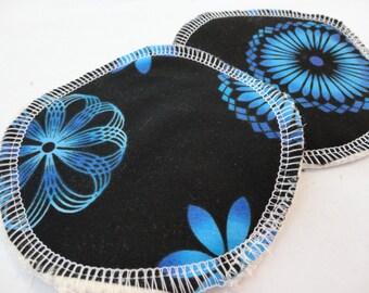 Organic Cotton Flannel Nursing Pads - Blue Floral