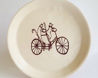 large plate,cat, cats, handmade plate, ceramic plate, modern, crazy cat lady plate, cat lover plate, cat plate, dinnerware, serving dish