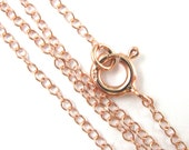 Rose Gold Necklace, Gold Chain, Gold Plated Chain, Long Sterling Silver Chain-2mm Cable Chain,Light Necklace Chain-30 inches- SKU: 601020-RG