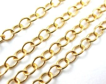 Gold plated 925 Sterling Silver Chain, Unfinished Bulk Chain, Vermeil Cable Chain- Jewelry Supplies Wholesale Up to 30% off- SKU: 101014-VM