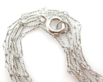 Rhodium Plated over 925 Sterling Silver Chain Necklace-Fancy Twisted Link-6.7mm Twisted Necklace- All Sizes 16-40 inches (1pc)-SKU:601007RH