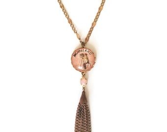 Vintage Intaglio Necklace with Tassels - Sautoir - Pink and Brass - Superstar Necklace (SD1041)