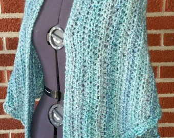 Homespun Triangular Prayer Shawl in Waterfall