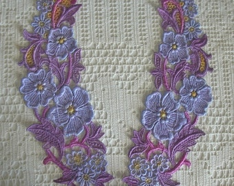 Venise Lace Collar Appliques, Hand Dyed Purples, Lavenders, Embellishments, Quilts, Sewing