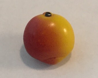 Vintage Glass  Button - Hand Painted Peach or Nectarine Fruit