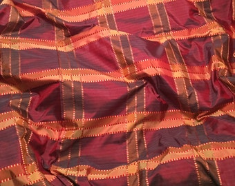 Maroon & Gold PLAID Silk TAFFETA Fabric - 1 Yard