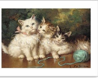"THREE KITTENS with Ball of Yarn, Victorian, Photo Greeting Card,  Borderless Photo, Blank Inside, Frame It, 5""x7"" Card, 4""x6"" Photo"
