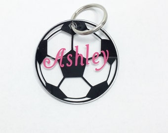 Personalized Soccer Keychain, Bag Tag, zipper pull