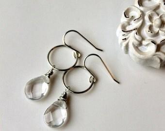 On SALE / CIJ Sale / Rock Crystal Earrings, Sterling Silver Earrings, Handwrapped Drop Earrings, Geometric, Clear Day