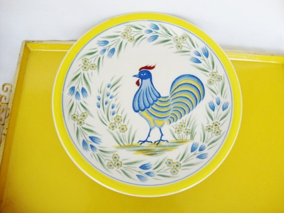 Vintage Rooster French Country Style Decorative Plate Blue And