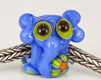Periwinkle Elephant Lampwork Big Hole Bead