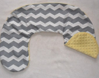 Gray Chevron and Yellow Minky Dot Nursing Pillow Cover Fits Boppy CHOICE OF MINKY