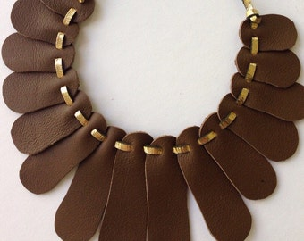 Recycled Leather Necklace Sensu by Mainichi