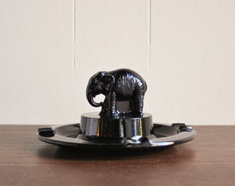Antique 1925 black amethyst glass elephant ashtray