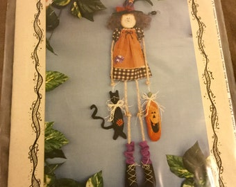 Felt Hanging Witch and Ornaments Pattern 24 inches tall, Uncut Vintage